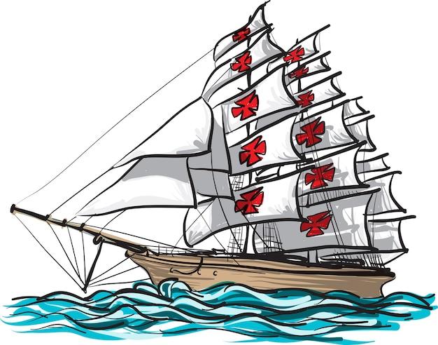 Statek Columbus Ręcznie Rysować I Malować Na Białym Premium Wektorów