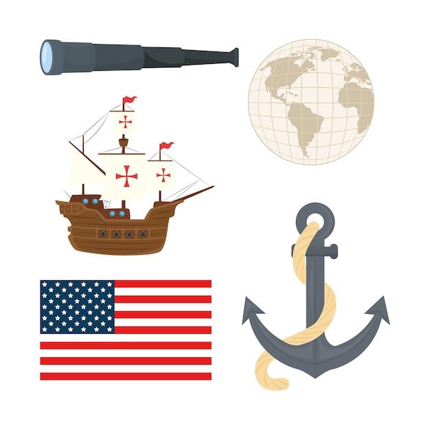 Statek Kolumba Kotwica światowa Sfera I Projekt Flagi Usa Szczęśliwego Dnia Kolumba W Ameryce I Tematu Odkrycia Premium Wektorów