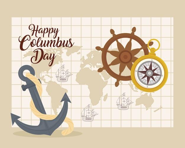 Statki Kolumba Na Mapie świata Ze Sterem Kotwicy I Kompasem Projektu Szczęśliwego Dnia Kolumba W Ameryce I Motywem Odkrywania Premium Wektorów
