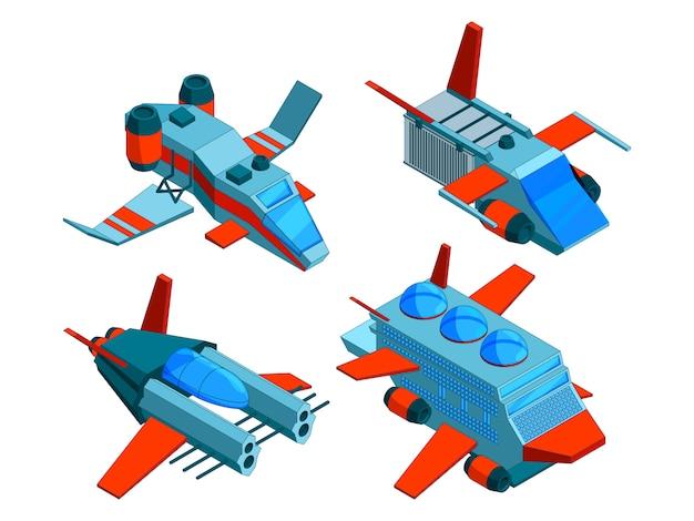 Statki kosmiczne izometryczne. technologie kosmiczne ładunek i okręty powietrzne bombowiec 3d niskie statki kosmiczne izolowane Premium Wektorów
