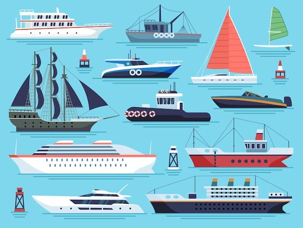 Statki Morskie Płaskie. Wagon Wodny, Statki łodzie Jacht Okręt Wojenny Okręt Wojenny Duży Statek. Zestaw Wektorów Dok ładunków Morskich Premium Wektorów