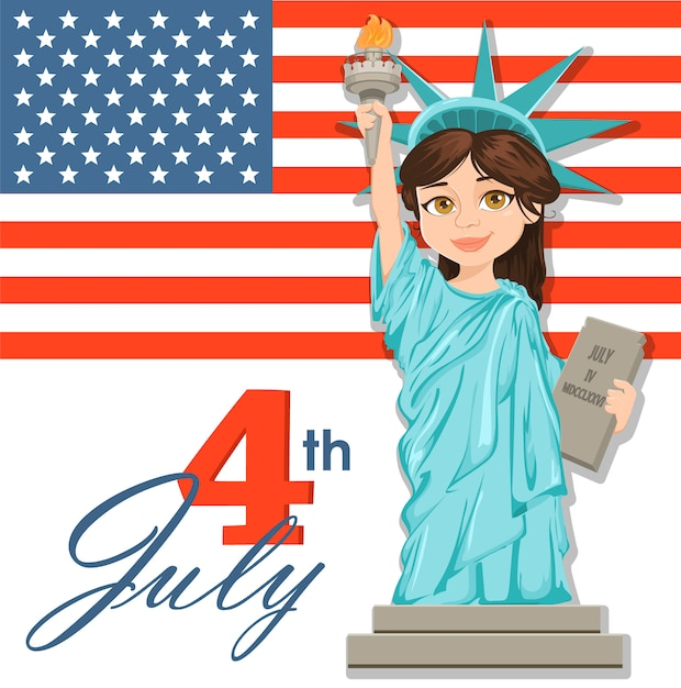 Statua wolności. 04 lipca. dzień niepodległości Premium Wektorów
