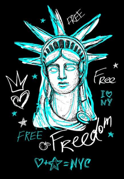 Statua Wolności W Nowym Jorku, Wolność, Plakat, T Shirt, Napis W Stylu Szkicu, Modny Graficzny Suchy Pędzel, Marker, Kolorowy Długopis, Atrament Ameryka Usa, Nyc, Ny. Doodle Ilustracja. Premium Wektorów