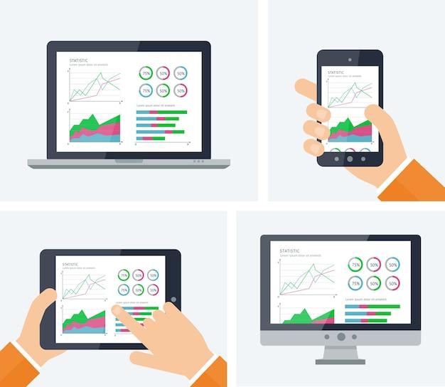 Statystyka. Infografika Z Elementami Grafów I Wykresów Na Ekranach Urządzeń. Premium Wektorów