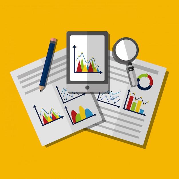 Statystyki analizy danych biznesowych ilustracja Darmowych Wektorów