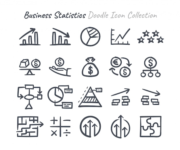 Statystyki biznesowe doodle zbiór ikon Premium Wektorów