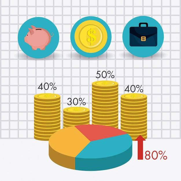 Statystyki Dotyczące Wzrostu Gospodarczego I Oszczędności Pieniężnych Darmowych Wektorów