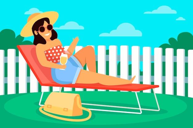 Staycation In The Backyard Concept Darmowych Wektorów