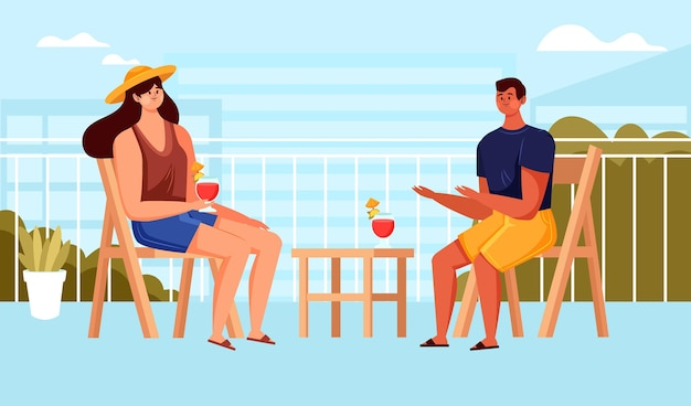 Staycation W Domu Balkon Z Kobietą I Mężczyzną Darmowych Wektorów