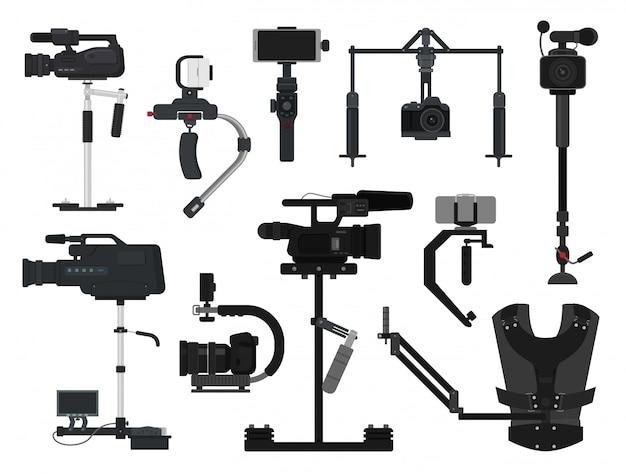 Steadicam wektor wideo kamera cyfrowa profesjonalny sprzęt filmowy stabilizator zestaw fotograf kamerzysta film technologia produkcji na białym tle Premium Wektorów