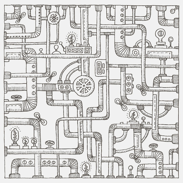 Steampunk doodle tło Premium Wektorów