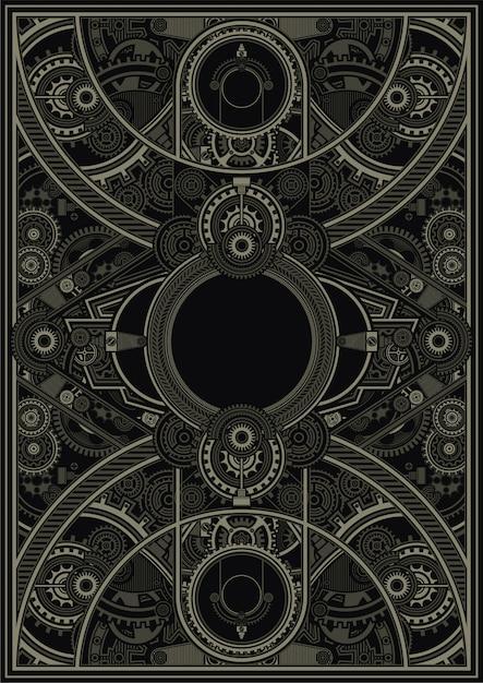 Steampunk Plakatowy Szablonu Wektor Eps Premium Wektorów