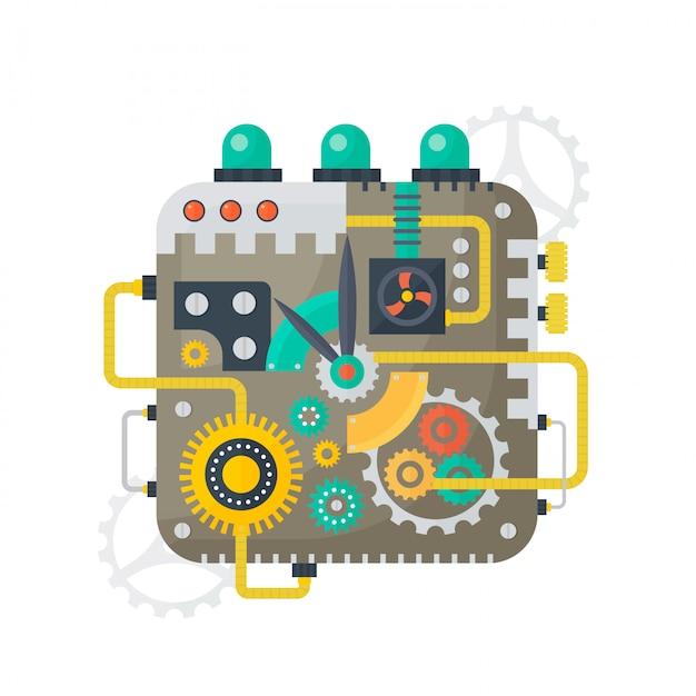 Steampunk rocznika zegarowa twarz Premium Wektorów