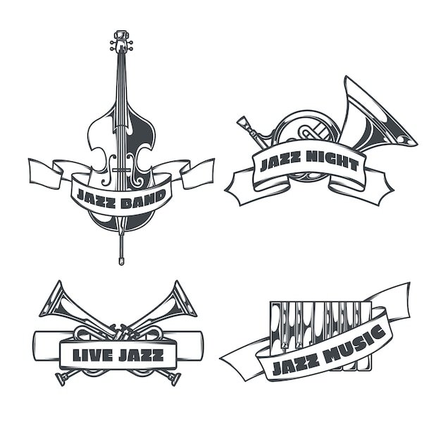 Steampunk Zestaw Izolowanego Logo Z Obrazami W Stylu Szkicu Serca Mechanicznych Skrzydeł I Wstążkami Z Tekstem Darmowych Wektorów