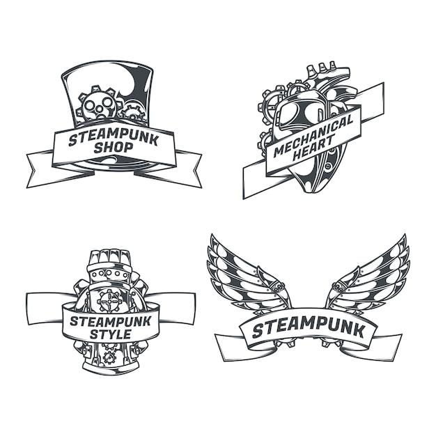Steampunk Zestaw Izolowanych Emblematów Z Obrazami W Stylu Szkicu Serca Mechanicznych Skrzydeł I Wstążkami Z Tekstem Darmowych Wektorów