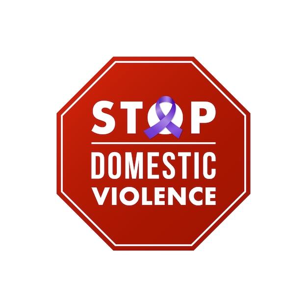 Stempel Zatrzymania Przemocy Domowej. Koncepcja Społeczna. Premium Wektorów