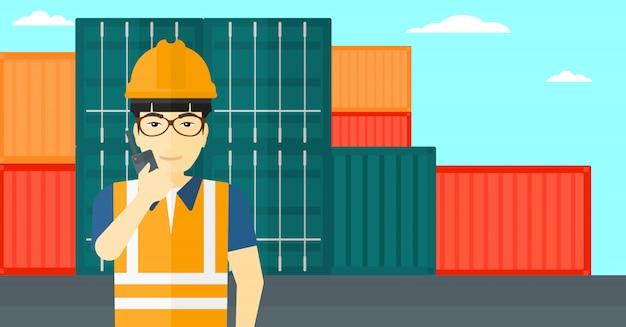 Stevedore stojący na kontenerach Premium Wektorów