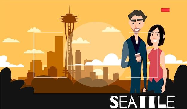 Stojąca Para Fotografowana Jest Na Tle Seattle. Ilustracja Podróżnicza W Stylu Fotografii. Premium Wektorów
