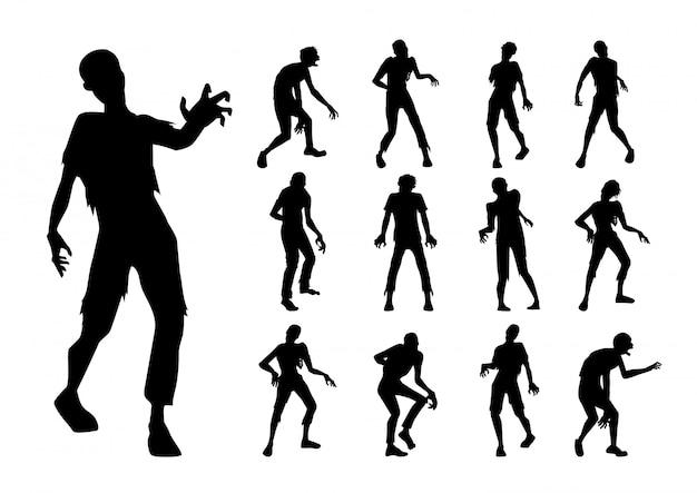 Stojące I Chodzące Zombie W Kolekcji W Stylu Silhouette. Premium Wektorów