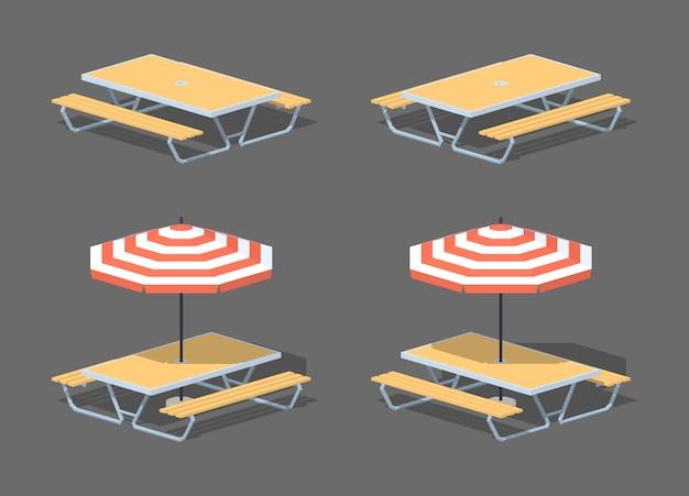 Stół do kawiarni low poly z parasolem Premium Wektorów