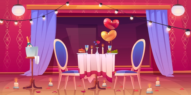 Stół W Restauracji Służył Do Romantycznej Kolacji Randkowej Na Walentynki Darmowych Wektorów