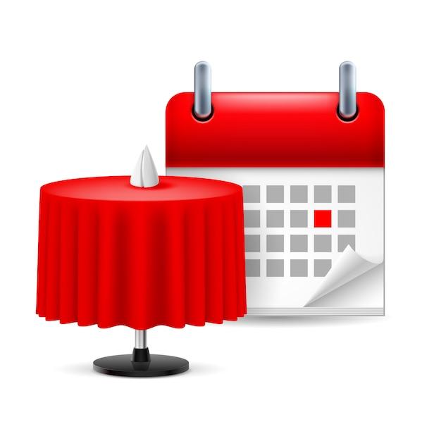Stolik W Restauracji I Kalendarz Premium Wektorów