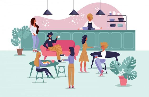 Stołówka Biurowa Dla Pracowników, Kreskówka Freelancerów Premium Wektorów