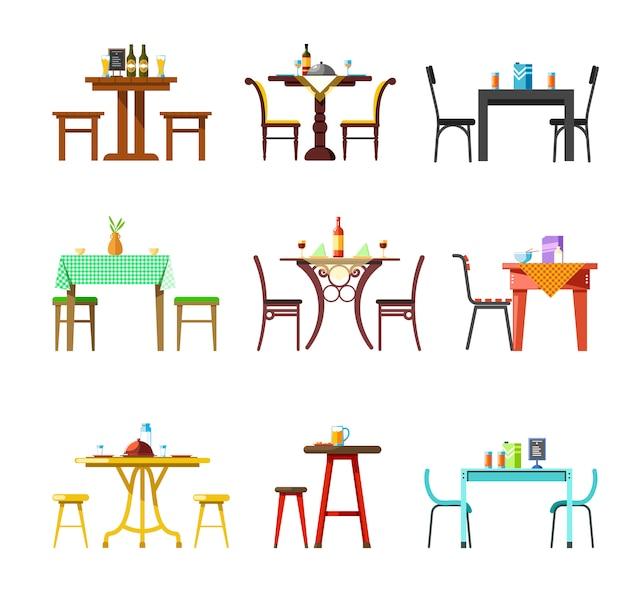 Stoły i krzesła w restauracji, kawiarni lub bistro podawane z zestawem naczyń i napojów Premium Wektorów