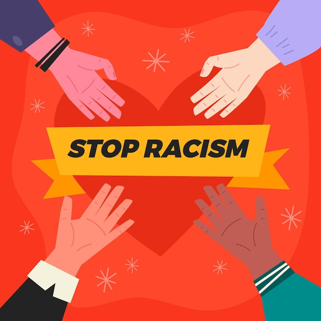 Stop Rasizm Ilustracja Koncepcja Darmowych Wektorów