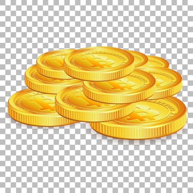 Stos Bitcoinów Na Przezroczystym Tle Premium Wektorów