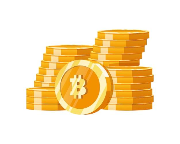 Stos Cyfrowych Bitcoinów Z Górskiego Złota Premium Wektorów