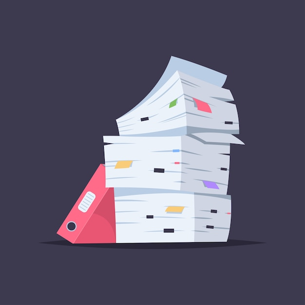 Stos Dokumentów, Plików I Folderów. Wektorowa Kreskówka Płaska Ilustracja Biurowego Papieru Stos Odizolowywający Premium Wektorów