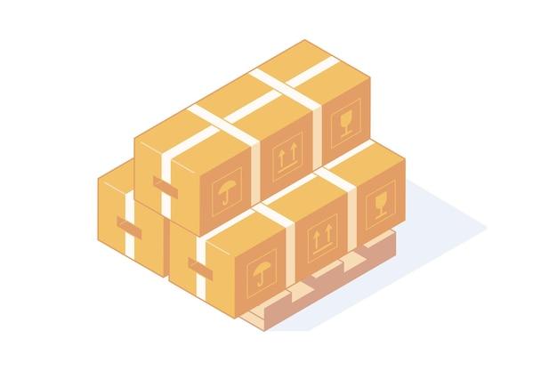 Stos Izometrycznych Kartonów Na Drewnianej Palecie Do Koncepcji Dostawy I Przechowywania. Premium Wektorów