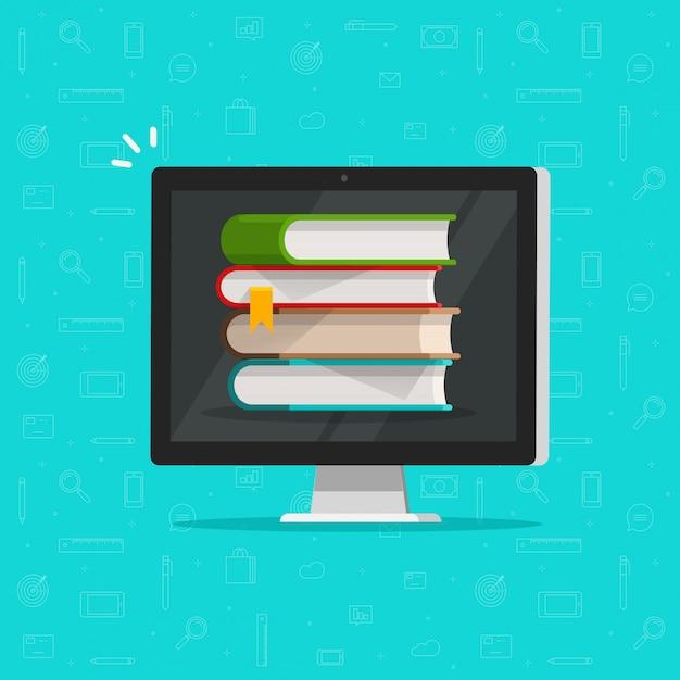 Stos książek na komputerze lub koncepcja ekranu biblioteki elektronicznej Premium Wektorów