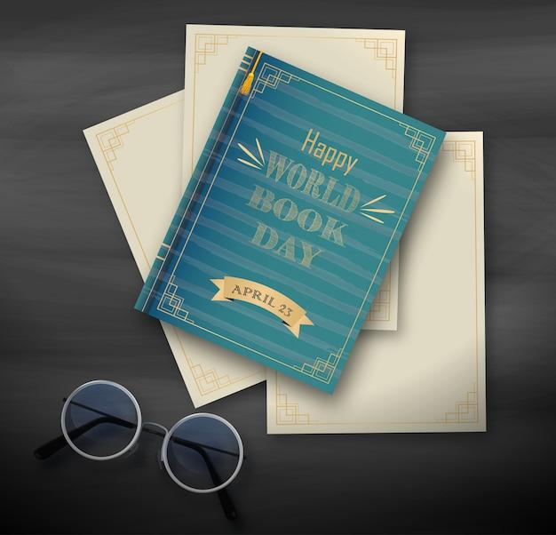 Stos książek, szczęśliwy światowy dzień na czarnym tle Premium Wektorów