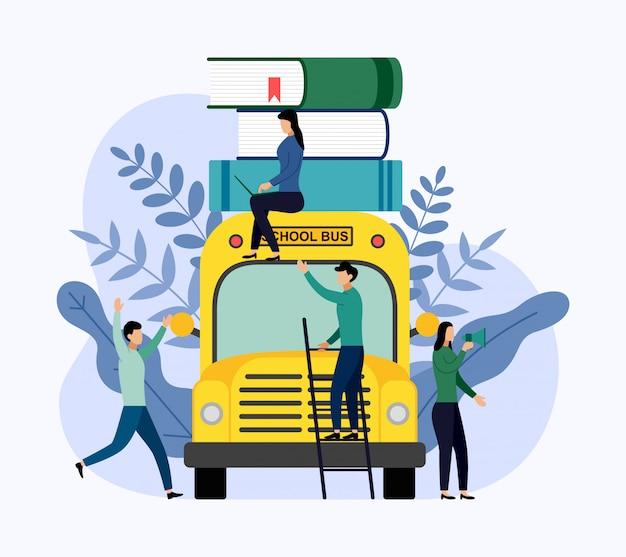 Stos książek w szkolnym autobusie, edukacja Premium Wektorów