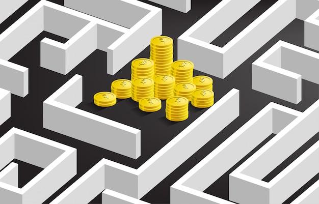 Stos Złotych Monet Dolar Waluty W Centrum Labiryntu. Koncepcja Misji Biznesowej I Sposób Na Zysk Firmy Premium Wektorów