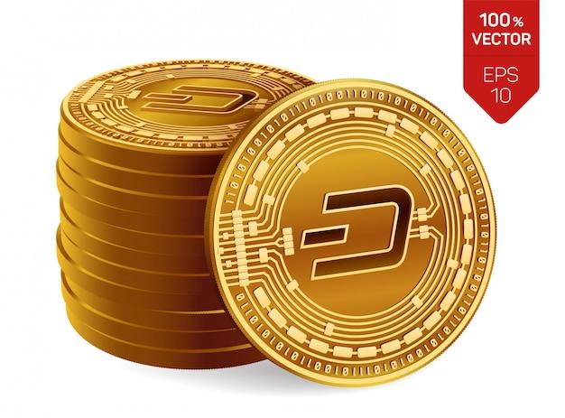 Stos Złotych Monet Z Dash Symbol Na Białym Tle. Darmowych Wektorów