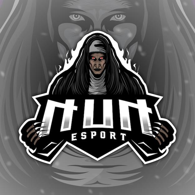 Straszna maskotka z logo nun do gier elektronicznych Premium Wektorów