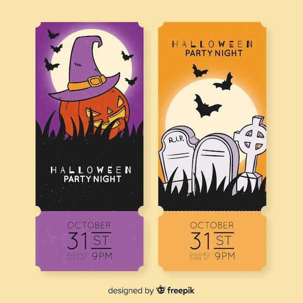 Straszne Bilety Na Dynie I Cmentarze Na Imprezy Halloweenowe Darmowych Wektorów