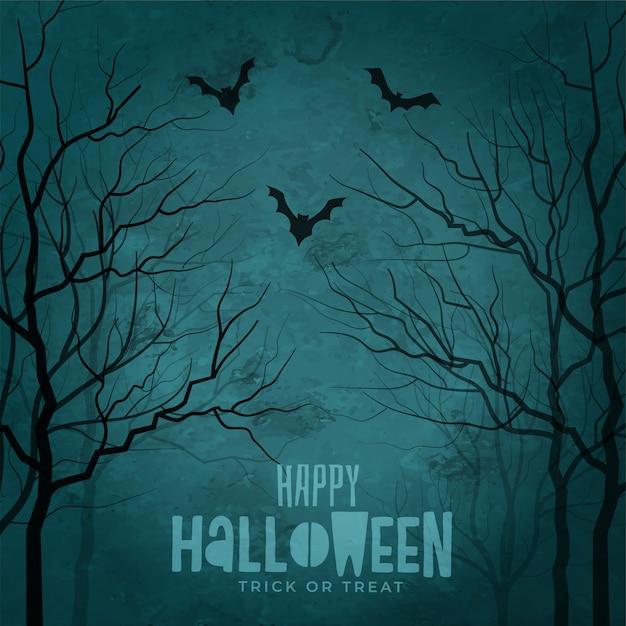 Straszne drzewa z latającymi nietoperzami halloween Darmowych Wektorów