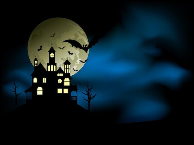 Straszny Dom Z Niesamowitym Nocnym Niebem I Nietoperzami Darmowych Wektorów