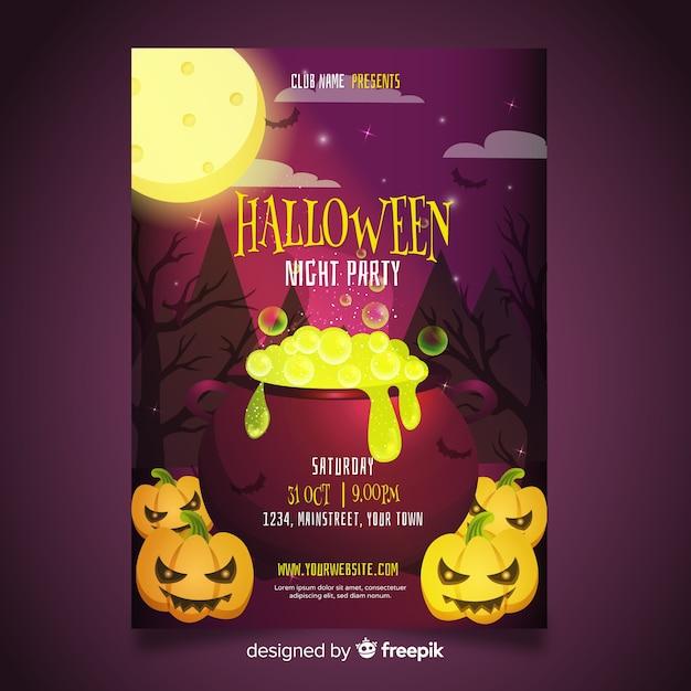 Straszny Szablon Halloween Party Plakat Darmowych Wektorów