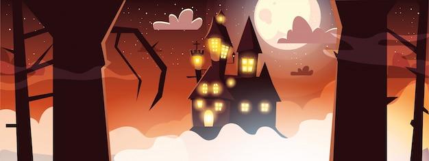 Straszny Zamek Z Księżyca W Scenie Halloween Transparent Premium Wektorów