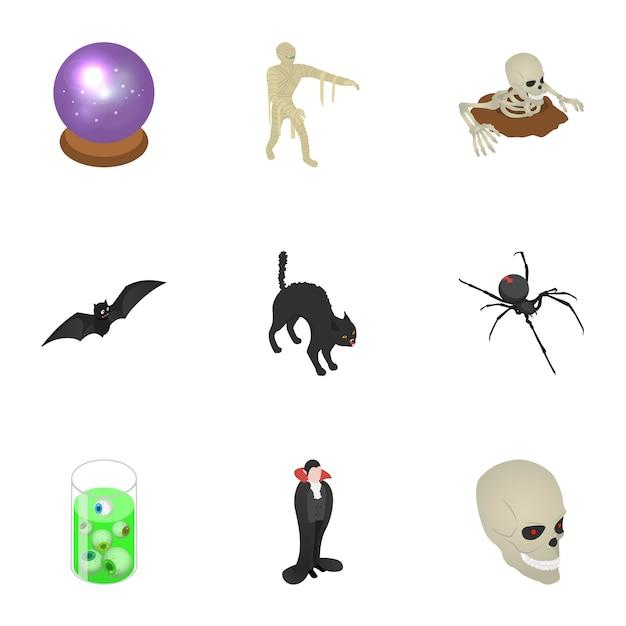 Straszny Zestaw Ikon Halloween, Styl Izometryczny Premium Wektorów