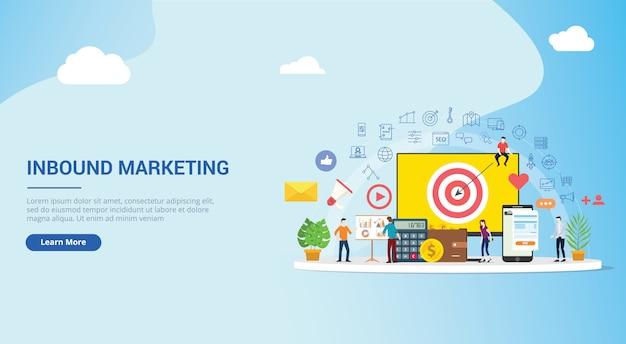 Strategia inbound marketing concept Premium Wektorów