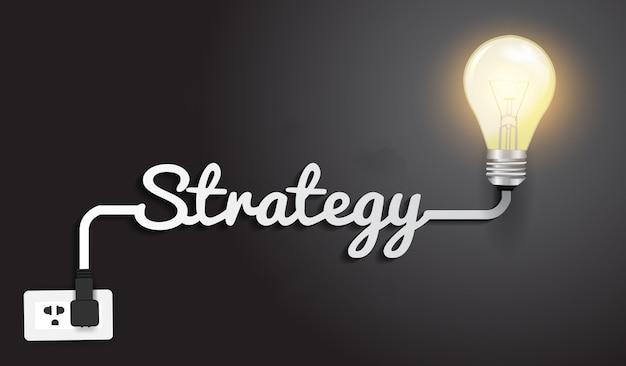 Strategia koncepcja szablon nowoczesny projekt, pomysł kreatywny żarówki. Premium Wektorów
