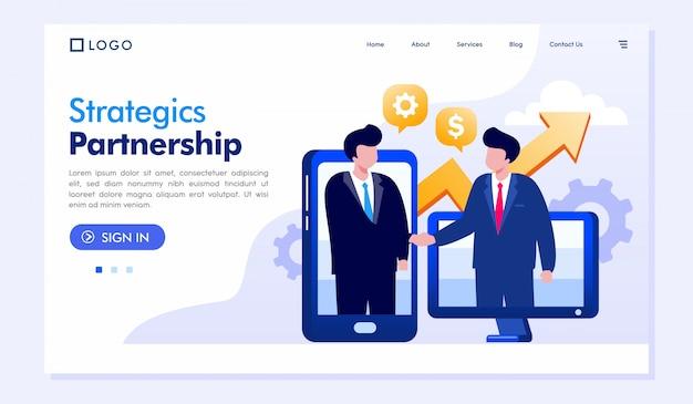 Strategia Partnerstwa Strony Docelowej Ilustracyjny Wektorowy Szablon Premium Wektorów
