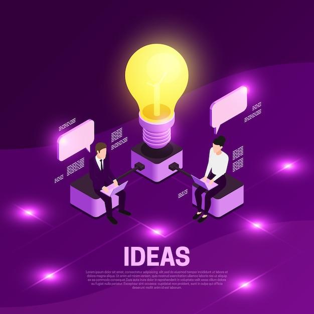 Strategii Biznesowej Isometric Pojęcie Z Pomysłów Symboli / Lów Fiołka Ilustracją Darmowych Wektorów