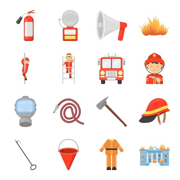 Straż Pożarna Kreskówka Wektor Zestaw Ikon. Wektorowa Ilustracja Straż Pożarna. Premium Wektorów